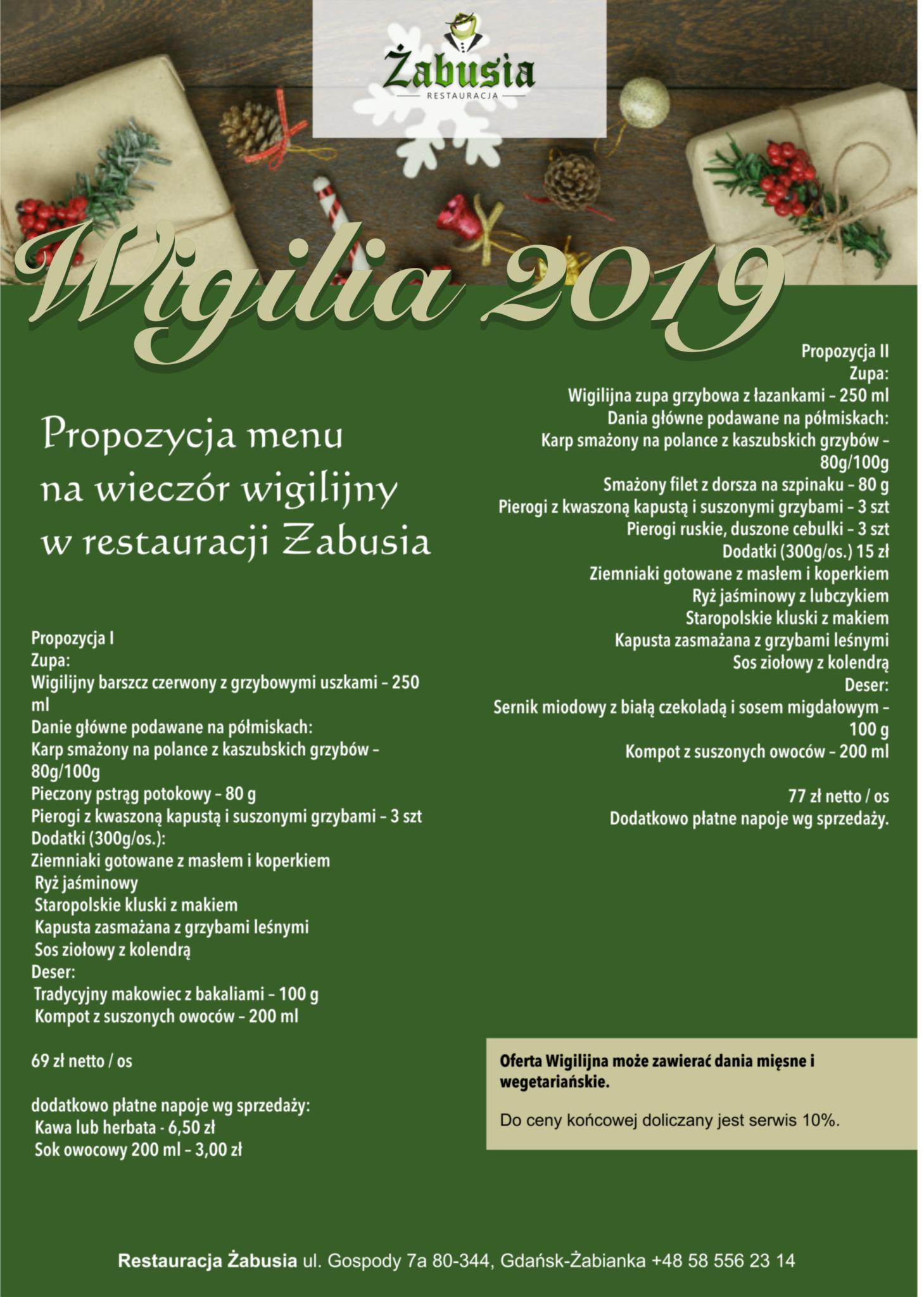 Menu Wigilijne 2019